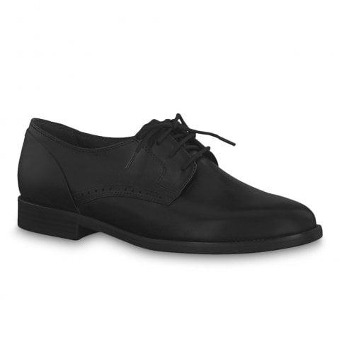 Tamaris Womens Flat Oxford Shoes - Black Lace
