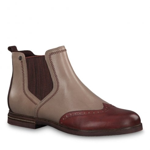 modern techniques wide selection latest style of 2019 Tamaris Womens Shell Beige Burgundy Leather Flat Ankle Boots - 25027