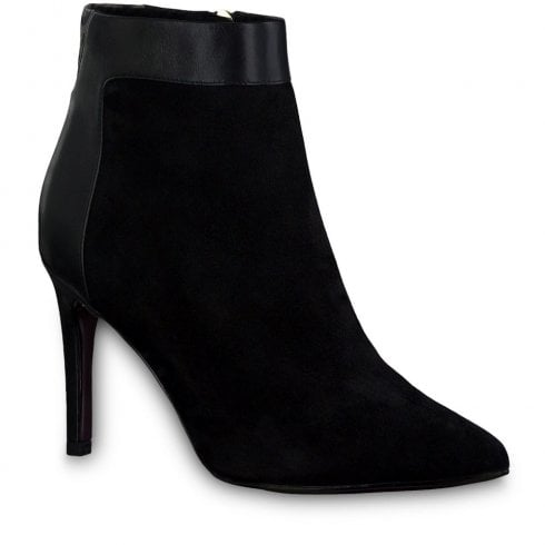 Tamaris Womens Black Suede Leather Stiletto Ankle Boots