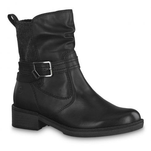 Tamaris | 25411 Black Flat Over Ankle Boots | FREE delivery