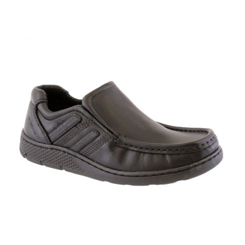 Morgan & Co Boy's Black Twin Gusset Casual Slip On School Shoes