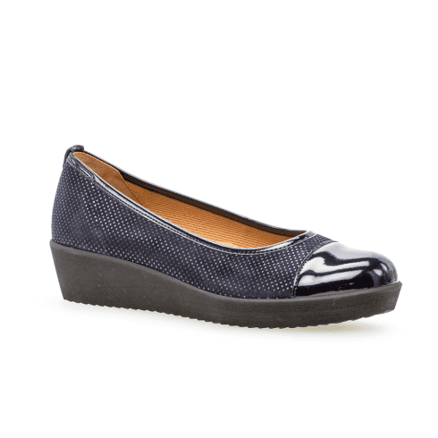 Gabor Womens Dot Print Comfort Ballerinas Slip On Shoes - Navy