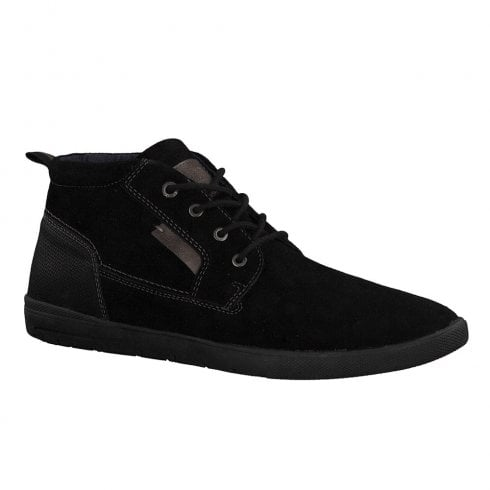S.Oliver Mens Casual Suede Leather Laced Ankle Shoes - Black