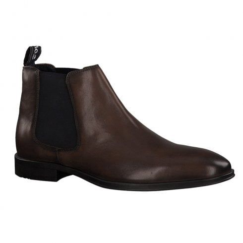 S.Oliver Mens Leather Smart Ankle Chelsea Boots - Cognac 15300