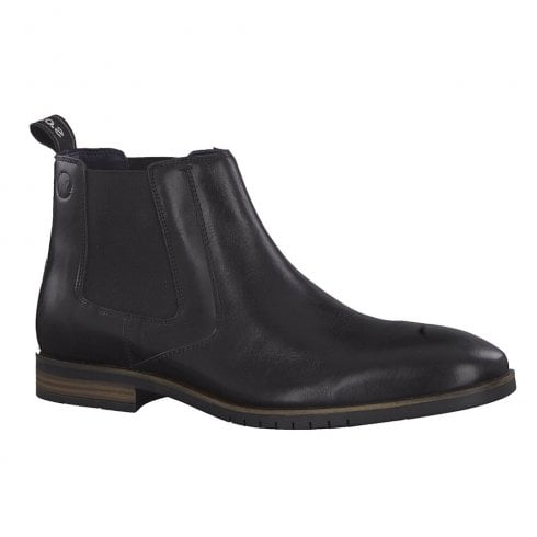 S.Oliver Mens Smart Leather Ankle Chelsea Boots - Black