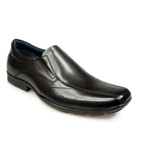 POD Mens Boys Mens Dundee Black Leather Slip On Smart School Shoes