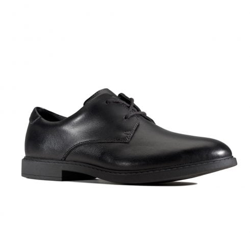 Clarks Scala Loop Black Leather Lace Up Smart School Shoes (G Width)