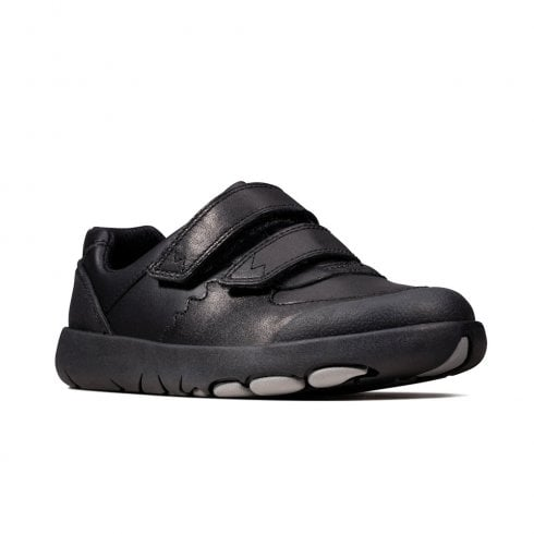 Clarks Rex Pace Boys Black Leather Velcro Shoes (E Width)