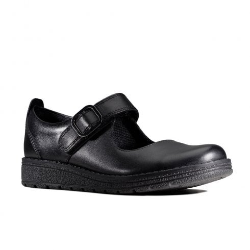 Clarks MendipStitch Girls Black Leather Mary Jane School Shoes (F Width)