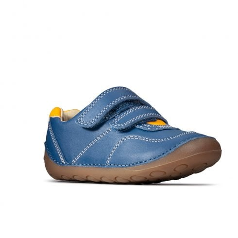 Clarks Tiny Dusk Boys Blue Leather Velcro Shoes (F Width)