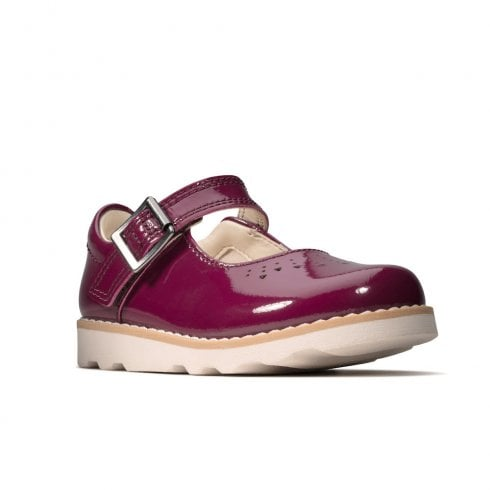 Clarks Girls Crown Jump T Plum Patent Mary Jane Shoes (G Width)