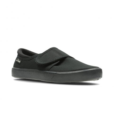 Clarks Kids Hopper Run Black Fabric Velcro Trainers Shoes (G Width)