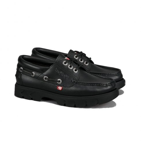 Kickers Lennon Boatshoe Lace Up School Shoe - Black Leather