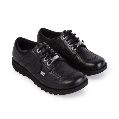 Kickers Girls Kick Lo Lace Up School Shoe - Black Leather