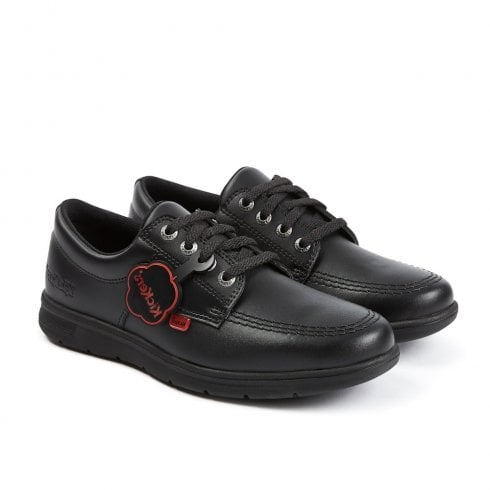 Kickers Kelland Flat Lace Up School Shoe - Black Leather