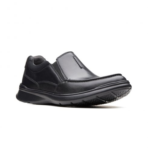Clarks Mens Cotrell Free Black Smooth Leather Casual Slip On Shoes G WIDTH