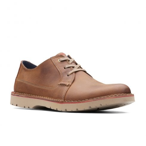 Clarks Mens Vargo Plain Tan Leather Smart Casual Lace Up Shoes G WIDTH