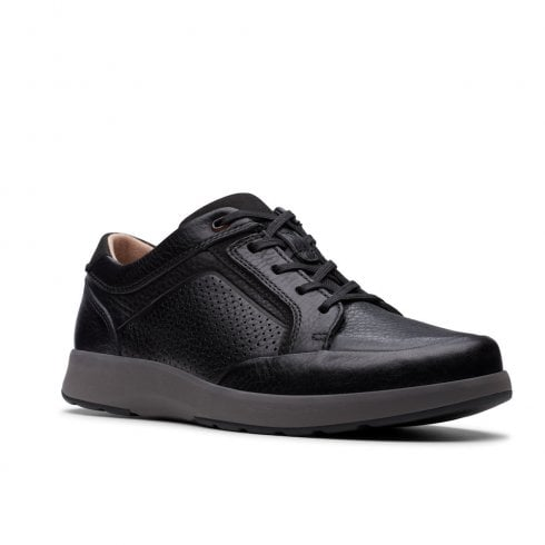 Clarks Mens Un Trail Form Black Leather Casual Lace Up Shoes G WIDTH