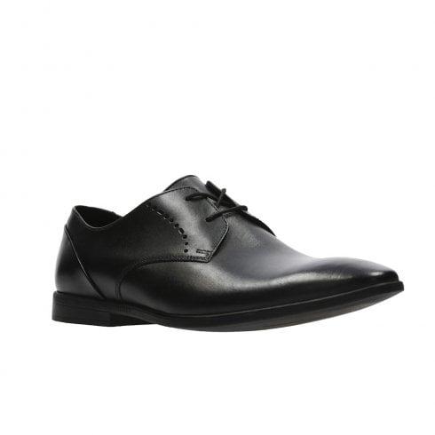 Clarks Mens Bampton Lace Black Leather Smart Shoes G WIDTH