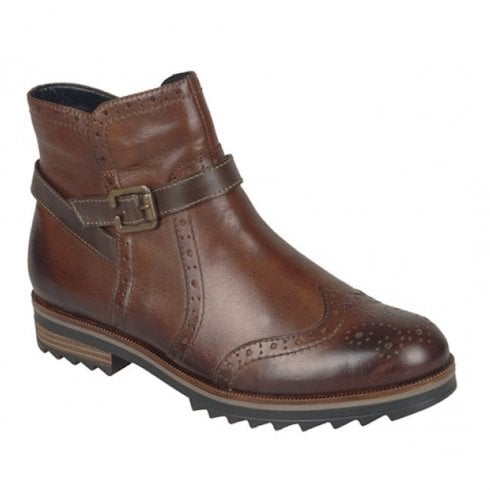 Remonte R2278 Ladies Leather Flat Brogue Boots - Brown Chestnut