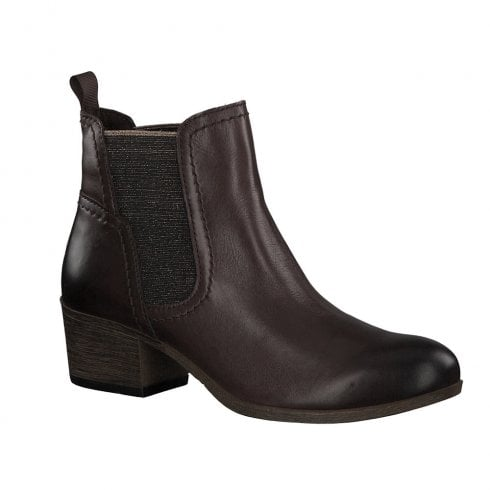 Marco Tozzi Womens Mocca Brown Low Heel Ankle Boots - 25322