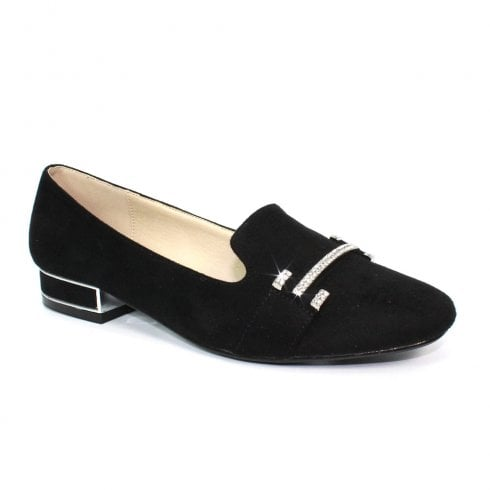 Lunar FLC181 Beattie Rhinestone Loafers - Black