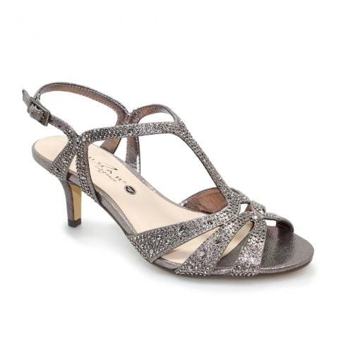 Lunar Francie Wide Fit Gemstone Heeled Sandals - Pewter