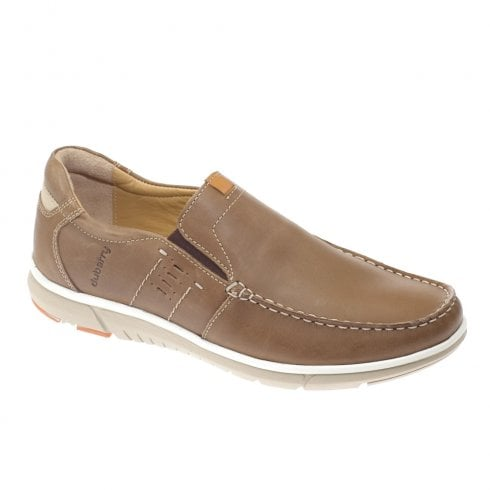 Dubarry Mens Bryson Casual Leather Slip-On Shoes - Tan Brown 4599