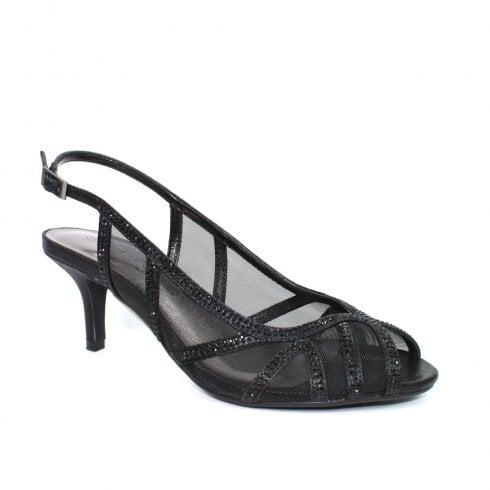 Lunar FLR540 Miley Black Mesh Elegance Heeled Sandals