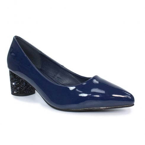 Lunar Womens FLC172 Shaw Patent Court Low Heel Shoes - Navy