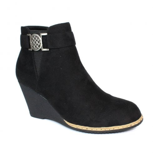 Lunar Carmen II Black Wedge Heeled Fashion Boots