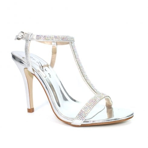 Lunar Womens Potter JLH131 Silver Strappy Elegance Heeled Sandals