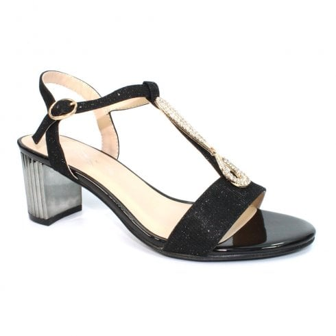 Lunar Lopez JLH132 Black Elegance Block Heeled Sandals