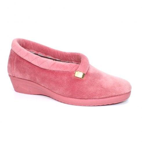 Lunar Womens Bridie Quilted Slippers KLA100 - Pink