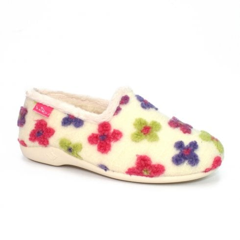 Lunar Womens Crocus Full Floral Slippers KLA115 - White