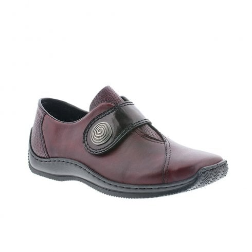 Rieker Womens Comfort Chunky Wedge Velcro Shoes - Burgundy
