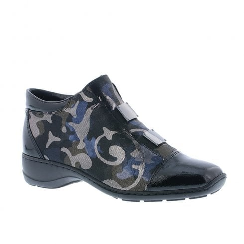 Rieker Womens Comfort Flat Wedge Ankle Boots - Blue/Black