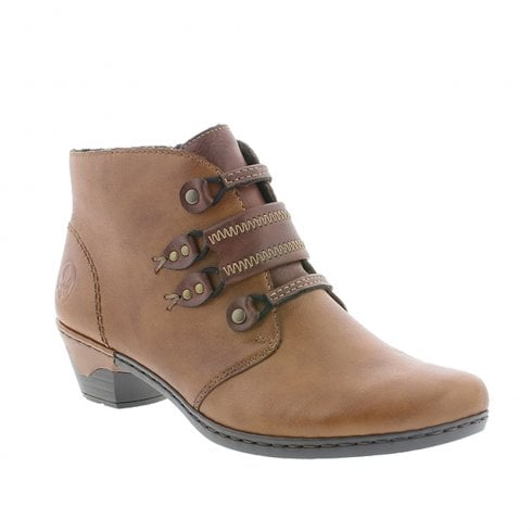 Rieker Womens Low Heel Leather Ankle Boots - Tan