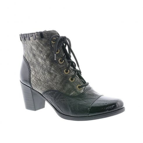 Rieker Womens High Heel (F Width) Lace Up Zip Leather Ankle Boots - Black/Grey