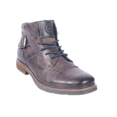 Bugatti Mens Dark Grey Leather Casual Lace Up Ankle Boots