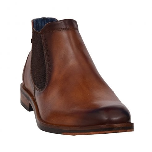Bugatti Mens Cognac Leather Smart Low Slip On Boots