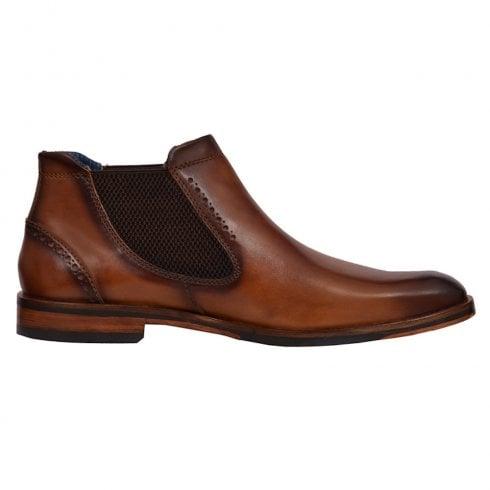Bugatti Mens Cognac Leather Smart Low Slip On Boots