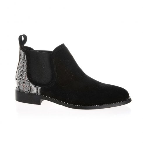 Nicola Sexton Black Suede Flat Low Ankle Boots
