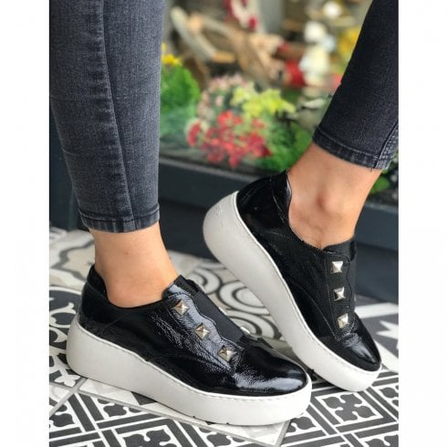 Wonders Black Flat Platform Sneakers Shoes