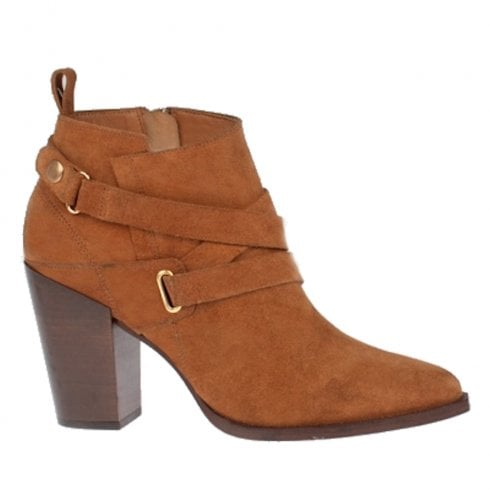 Amy Huberman by Bourbon Amy Huberman Moonlight Cinnamon Tan High Heeled Ankle Boots