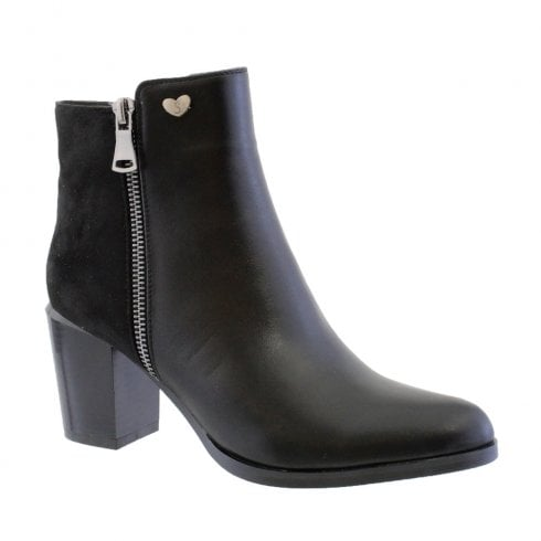 Susst Kenzie-9 Black High Heel Block Ankle Boots