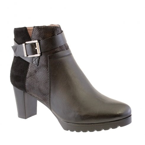 Susst Darby-9 Black Block Heel Plain Front Ankle Boots