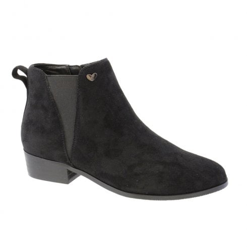 Susst Patsy-9 Black Low Heel Zip Chelsea Ankle Boots