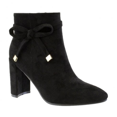 Susst Bella-9 Black High Heel Bow Trim Ankle Boots