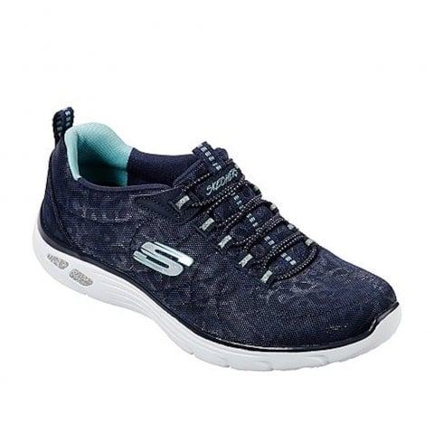 Skechers 12825 Navy Womens Relaxed Fit Empire D'Lux Spotted Mesh Sneakers